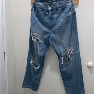 NY & Co Distressed & Bling Boyfriend Jeans Sz 14